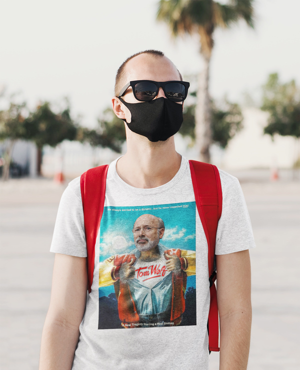 wolfy shirt man with mask and backpack