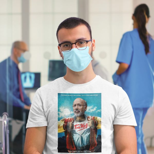 wolfy shirt man with mask and glasses in medical building
